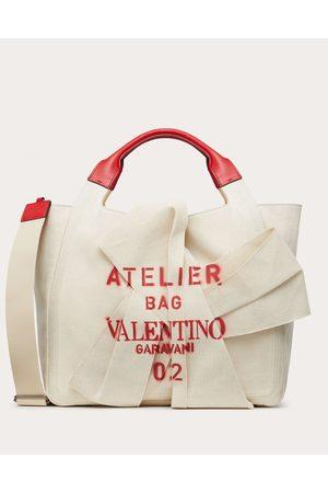 VALENTINO GARAVANI Atelier Bag 02 Canvas Tote With Bow Women Multicolored Linen 48%, Cotton 48%, Polyurethane 4% OneSize