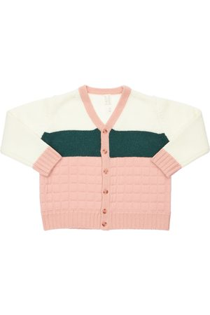 TIA CIBANI Patchwork Wool Knit Cardigan