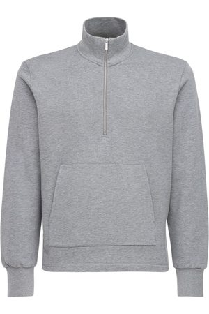 Thom Browne Men Sweatshirts - 4bar Intarsia Half Zip Cotton Sweatshirt