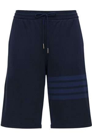 Thom Browne Tonal 4 Bar Cotton Sweat Shorts