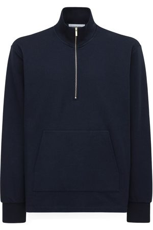 Thom Browne 4bar Intarsia Half Zip Cotton Sweatshirt