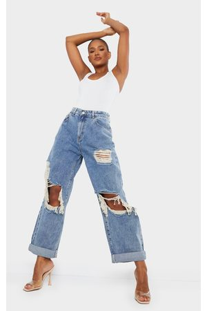 PRETTYLITTLETHING Acid Wash Open Knee Distressed Turn Up Boyfriend Jeans