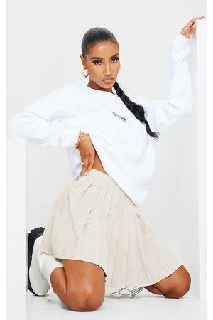 PRETTYLITTLETHING Stone Cord Pleated Skater Skirt