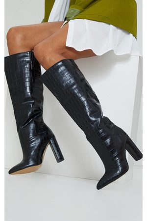 PRETTYLITTLETHING Wide Fit Croc PU Knee High Point Block Heel Boots