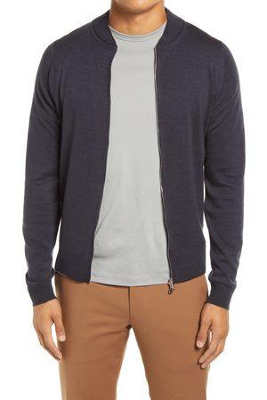 JOHN SMEDLEY Men's Slim Fit Knit Merino Wool Bomber Jacket