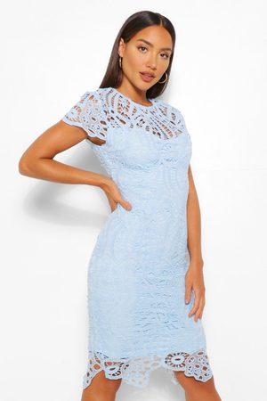 Boohoo Womens Lace Cap Sleeve Midi Dress - - 4