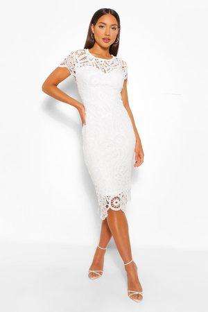Boohoo Womens Lace Cap Sleeve Midi Dress - - 10