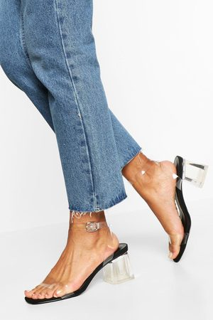 Boohoo Womens Wide Fit Low Clear Heel 2 Part - - 5