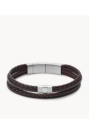 Fossil Men Bracelets - Men's Brown Multi-Strand Braided Leather Bracelet