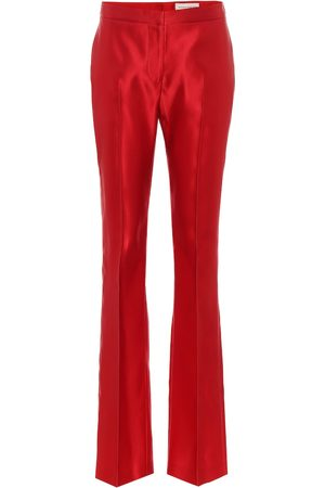 Alexander McQueen Silk satin high-rise bootcut pants
