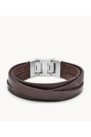 Fossil Men Bracelets - Men's Textured Brown Leather Wrist Wrap