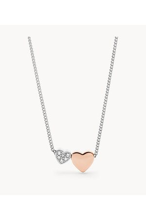 Brands Fossil Women's Duo Hearts Two-Tone Stainless Steel Necklace