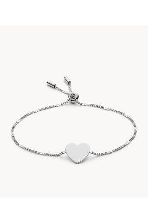 Womens Fossil Women's Engravable Heart Stainless Steel Bracelet