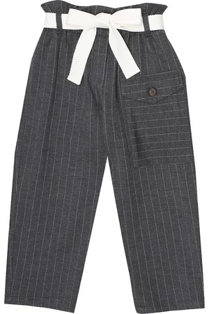 Brunello Cucinelli Pinstriped wool and cotton paperbag pants