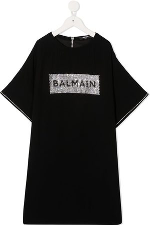 Balmain Embellished logo T-shirt dress