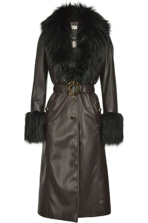 Pinko Fur-panelled faux leather coat