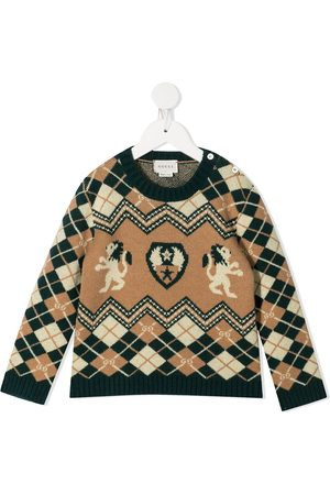 Gucci Argyle knit buttoned jumper - Neutrals