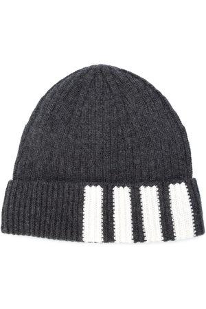 Thom Browne 4-Bar Stripe Cashmere Rib Hat - Grey