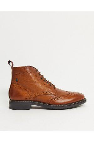 Base London Berkley brogue boots in leather-Tan