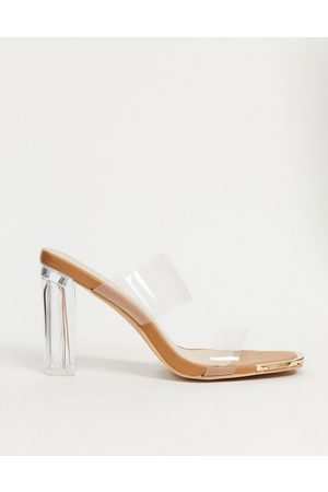 SIMMI Shoes Simmi London Heidi double strap mules with toe plating in clear