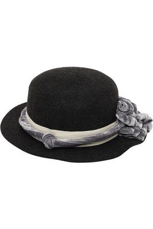 TIA CIBANI Wool Hat W/ Flower Appliqué