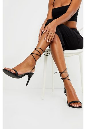 PRETTYLITTLETHING Wide Fit Barely There Ankle Tie Strappy Sandals