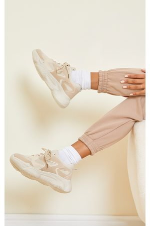 PRETTYLITTLETHING Sand WIDE FIT Chunky Bubble Sole Panelled Up Sneakers
