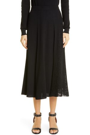 Givenchy Women's Lace Panel Ribbed Midi Sweater Skirt
