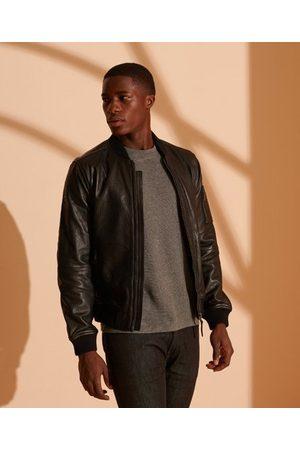 Superdry Men Leather Jackets - Leather Bomber Jacket