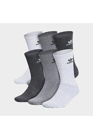 adidas Originals Trefoil 6-Pack Cushioned Crew Socks in /Grey/ /Heather Grey Size Large Cotton/Nylon/Polyester