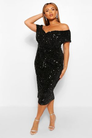 Boohoo Womens Plus Sequin Off The Shoulder Wrap Midi Dress - - 12