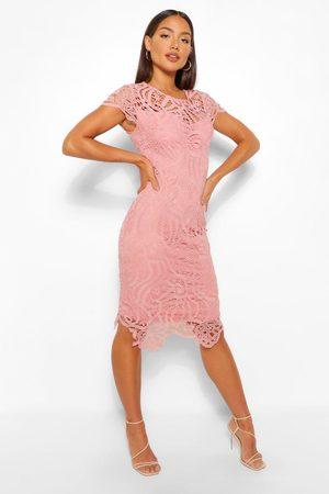 Boohoo Womens Lace Cap Sleeve Midi Dress - - 12