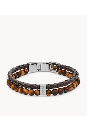 Fossil Men's Tiger's Eye And Leather Bracelet