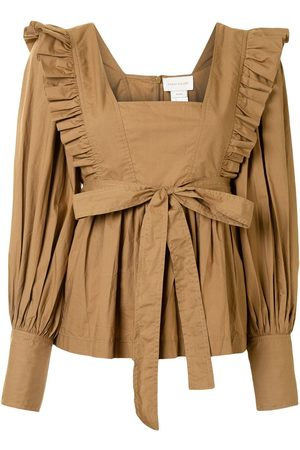 Karen Walker Chestnut ruffle-trimmed cotton blouse