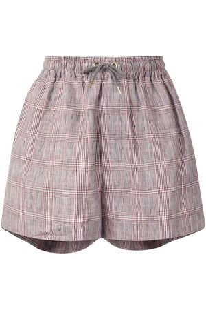 Karen Walker Maple checked linen shorts - Grey