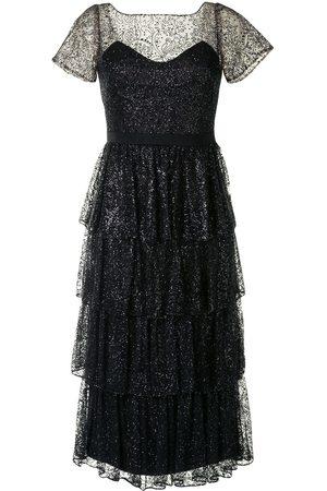 Marchesa Notte Tiered glitter cocktail dress