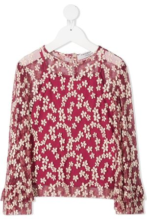 PHILOSOPHY DI LORENZO SERAFINI Floral-embroidered tulle blouse - Neutrals