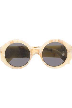 OFF-WHITE Marbled-effect round-frame sunglasses - Neutrals
