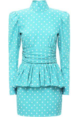 Alessandra Rich Polka Dots Silk Mini Dress W/ Open Back