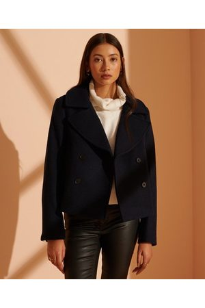 Superdry Wool Crop Peacoat