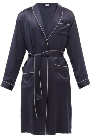 Zimmerli Piped Silk Bathrobe - Mens - Navy