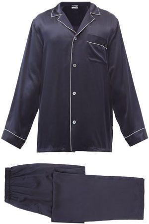 Zimmerli Men Pajamas - Logo-embroidered Piped Silk Pyjama Set - Mens - Navy