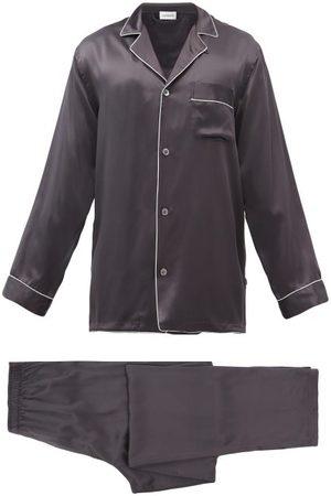 Zimmerli Men Sweats - Logo-embroidered Piped Silk Pyjama Set - Mens - Grey