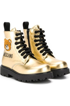 Moschino Teddy bear patch metallic boots