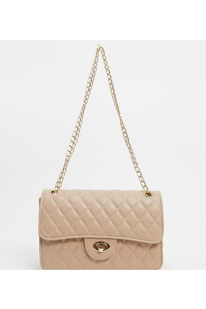 My Accessories London Exclusive quilted chain cross body bag in camel-Neutral
