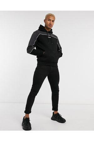 Nicce London Ark mini logo hoodie with piping in black color block