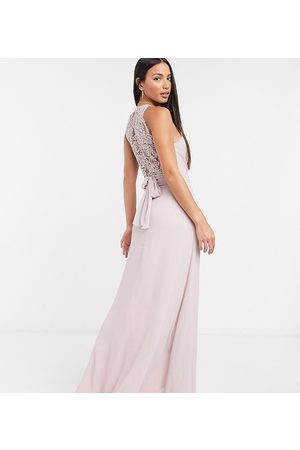 TFNC Bridesmaid wrap lace maxi dress in