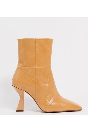 ASOS Wide Fit Elodie premium leather square toe heeled boots in natural