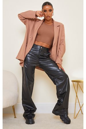 PRETTYLITTLETHING Women Leather Pants - Faux Leather Stitch Detail Wide Leg Trouser