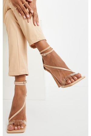 PRETTYLITTLETHING Nude Wide Fit Square Toe Asymmetric Strap Sandal